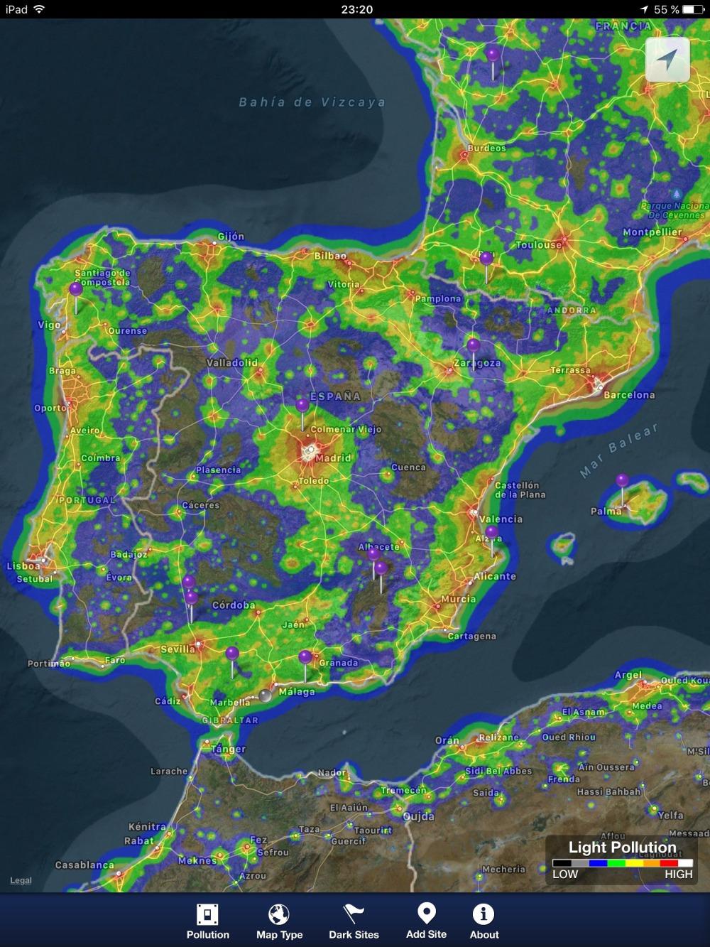 Contaminación lumínica en España